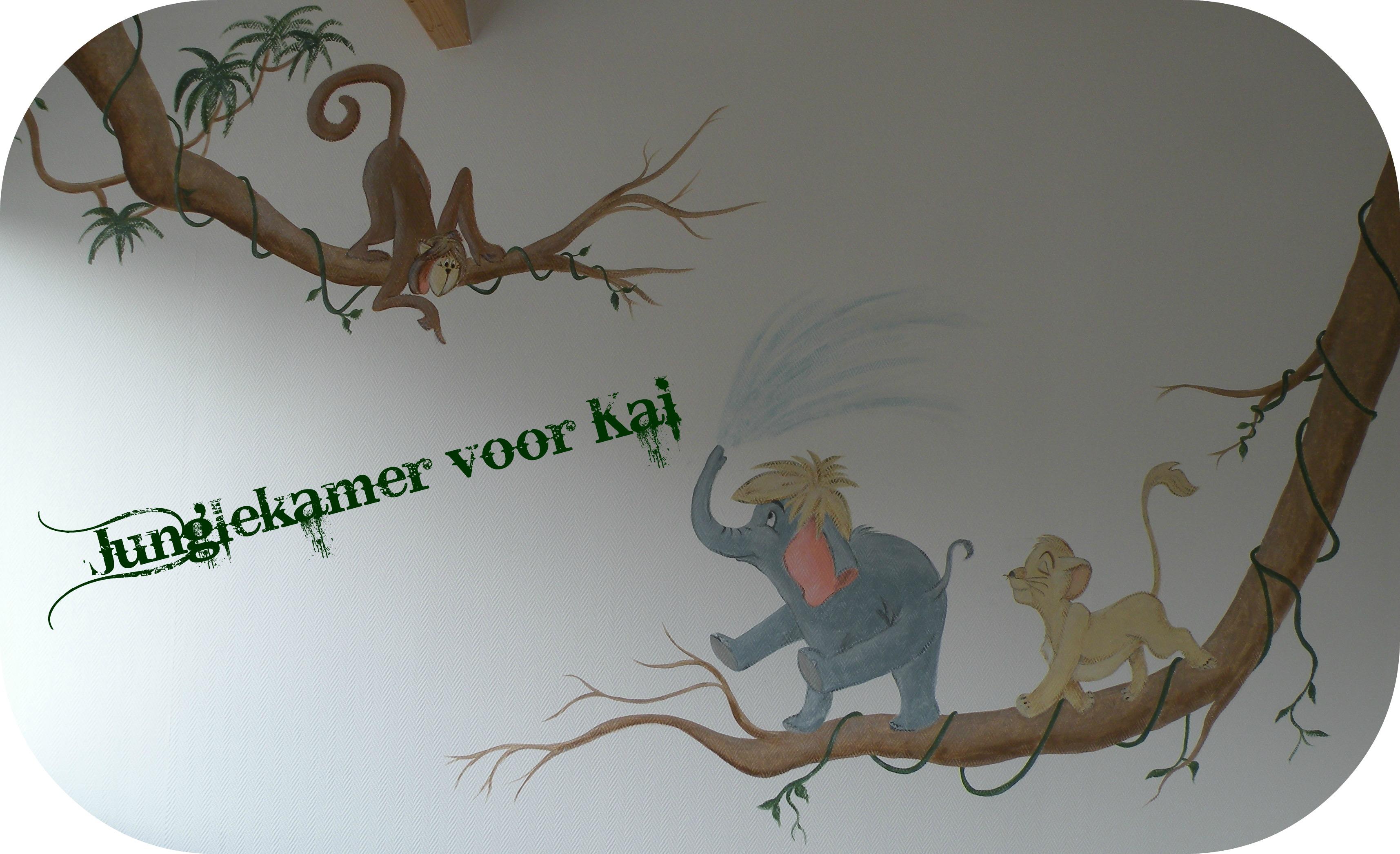 Jungle Book Slaapkamer : Muurschildering BAM-crea vrolijke kinderkamer ...